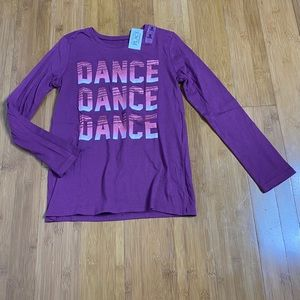 NWT Childrens Place DANCE Graphic Tee purple M 7/8